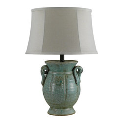 Lamps Plus - St. Tropez Crackled Blue Green Ceramic Jug Table Lamp - Crackled blue green brings soothing color and character to this urn shape ceramic table lamp. In a crackled blue green finish, this St. Tropez jug shape table lamp comes with curled handles and a stately round base. Up top, a light linen shade with slubbing lends itself to the distressed base, and is held in place by a decorative finial. Rotary switch for easy operation.