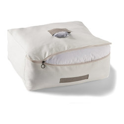 Frontgate - elizabethW Collection Duvet Storage Case - Storage case is constructed of organic cotton. Linen pockets and handles. Handcrafted in the elizabethW studios in San Francisco. This elizabethW Collection Duvet Storage Case keeps a duvet sealed to eliminate dust buildup and to keep a linen closet organized. Includes a lavender silk sachet that helps keep pests away.  .  .  . Made in USA.