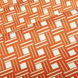 Rim Square Geometric Upholstery Fabric in Tangerine - Rim Square Geometric Upholstery Fabric in Tangerine has a suede-like texture with a modern geometric print and striking color perfect for upholstery projects or accent pillows. The soft texture of this discounted designer fabric creates an inviting atmosphere while the bright and cheery color and print lightens up interior designs. Made from 100% polyester, this fabric passes 40,000 double rubs on the Wyzenbeek Abrasion Test. Cleaning Code: W; UFAC: Class I; passes CA117 Test. Width: 54″; Repeat: 3″ V 3″ H
