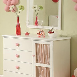 Drawer Dresser with Door and Heart Shaped Knobs - Simply a perfect choice for timeless, dainty design sure to appeal to the feminine eye.