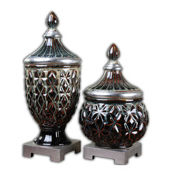 Uttermost - Uttermost 19759 Tailor Dark Blue Ceramic Urns Set of 2 - Uttermost 19759 Tailor Dark Blue Ceramic Urns Set of 2