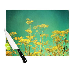 """Kess InHouse - Sylvia Cook """"Yellow Flowers"""" Teal Sky Cutting Board (11.5"""" x 15.75"""") - These sturdy tempered glass cutting boards will make everything you chop look like a Dutch painting. Perfect the art of cooking with your KESS InHouse unique art cutting board. Go for patterns or painted, either way this non-skid, dishwasher safe cutting board is perfect for preparing any artistic dinner or serving. Cut, chop, serve or frame, all of these unique cutting boards are gorgeous."""