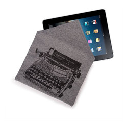 "Thomas Paul - Denim Luddite Typewriter iPad Case - Accessorize your office attire with a tablet case featuring a retro typewriter design. The Denim Luddite Typewriter iPad Case is constructed of heavyweight cotton grey denim, quilted for extra protection and features hand silk-screened signature Thomaspaul designs. The back has an envelope design closure that secures with velcro. The case is 8.5"" x 11"" making it a great fit for most tablet models, including many versions of the Apple iPad, Samsung Galaxy Tab, Google Nexus, Amazon Kindle, Microsoft Surface, and the Barnes & Noble Nook.   The word Luddite refers to a movement in the early nineteenth century by a group of British textile artists who protested the changes brought to their industry by the Industrial Revolution, often they destroyed mechanical looms, which they felt were taking work away from themselves. The items in this collection are inspired by this idea of turning back the clock and focusing on a simpler way of living."