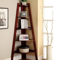 Furniture of America - Furniture of America Kiki 5-tier Corner Ladder Display Bookcase - This contemporary corner ladder bookcase makes a handsome addition to any decor. Durable hardwood construction and a five-tiered design make this stylish bookcase an ideal choice for creating an organized and clutter-free environment.