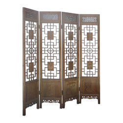 Golden Lotus - Set/ 4pcs Chinese Double Sides Geometric Pattern Four Season Carving Room Divide - Look at this room divider panel which is made of solid elm wood.  It comes set four pieces, and each one has double sides carving on it.  The bottom of panel has Chinese four seasons carving on it.  It is perfect to put in your house as room divider panel.