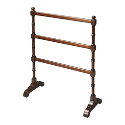 Butler Specialty - Butler Blanket Stand - Crafted from solid rubber wood in a rich cherry finish, this stand is as beautiful as it is functional, guaranteed to add another style flourish to an already well-furnished bedroom.