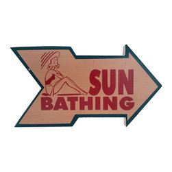 Handcrafted Nautical Decor - Wooden Arrow Sun Bathing Beach Sign 10'' - Feel the cool, crisp ocean breeze blow in off the Atlantic, the tolls of harbor and ship bells ringing out through the misty morning, and enjoy this enchanting nautical themed sign. Short and sweet, the Wooden Arrow Sun Bathing Beach Sign 10'' perfectly accessorizes your home, office, or even your very own vessel. With its beautiful hand painted appearance, express your love for the sea, the freedom of the open ocean, and the timelessly serene ambiance of nautical life. -- ----    Solid wooden  plank--    Handcrafted and highly detailed--    Meticulously painted nautical theme--