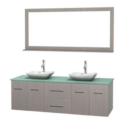 """Wyndham Collection - Centra 72"""" Grey Oak Double Vanity, Green Glass Top, White Carrera Marble Sinks - Simplicity and elegance combine in the perfect lines of the Centra vanity by the Wyndham Collection. If cutting-edge contemporary design is your style then the Centra vanity is for you - modern, chic and built to last a lifetime. Available with green glass, pure white man-made stone, ivory marble or white carrera marble counters, with stunning vessel or undermount sink(s) and matching mirror(s). Featuring soft close door hinges, drawer glides, and meticulously finished with brushed chrome hardware. The attention to detail on this beautiful vanity is second to none."""