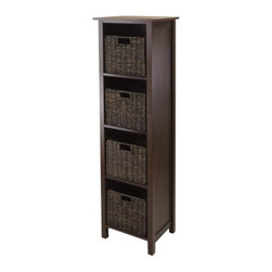 Winsome Wood - Granville 4-Section Storage Shelf, Set of 5 - Our Granville 4-Section Storage Shelf with foldable baskets is perfect to store and organize your goodies. This shelf is made from combination of solid and composite wood.