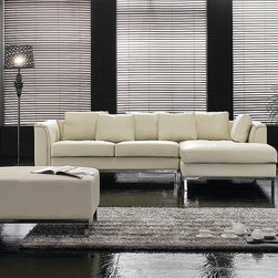 Leather Sofas - modern design sectional sofa in beige leather by Beliani