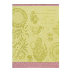 """Le Jacquard Francais - Le Jacquard Francais Macarons Pistache Tea / Kitchen Towel 24 x 31 """" - It's time to indulge. Le Jacquard Francais continues to weave its recipes! Damask fabric. 100% Pure cotton colored warp and weft."""