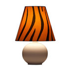 Ziqi Home - Zaida Table Lamp, Large - Make a statement. Made from a high fire porcelain ball and with a half matted glaze; bring fashion and elegance to any space.