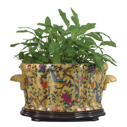 Oriental Danny - Hand painted porcelain planter - Hand painted porcelain planter in scalloped shape. Bold colors in Beau Jardin design. Great for flower arrangement or centerpiece.