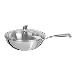 Cristel - Cristel Casteline Stainless Steel 4-quart Wok w/Glass Lid - Skip the Chinese takeout tonight. Use this spacious wok to create your own chicken stir-fry, veggie fried rice or broccoli beef. Nestle the glass lid on top and bring it straight to the table, or keep it warm in the oven until everyone's ready to eat.