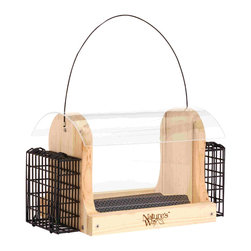 Nature's Way - Cedar 4 Quart Hopper Feeder with Suet - 4-Quart Hopper feeder with 2 suet cages holds up to 4 quarts of seed and 2 suet cakes, and is made of insect and rot resistant premium cedar. The feeder has spacing for larger birds, a wide opening for easy filling, a seed diverter, and drainage.