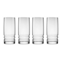 Bormioli - Bormioli Rocco Metropolitan 4-Piece 16.25-Inch Cooler Drinking Glass Set - This crisp, smooth glasses are the embodiment of master craftsmanship. Featuring a clear, slightly curved design and a ribbed base that adds a special touch.