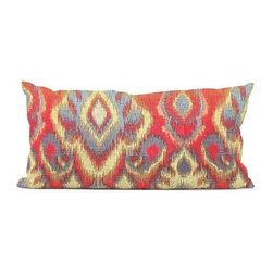 Howard Elliott Opal Fire Kidney Pillow - Change up color themes or add pop to a simple sofa or bedding display by piling up the pillows in a multitude of colors, textures and patterns. This Opal Pillow features a bold pattern of reds, gold's, greens and blues.