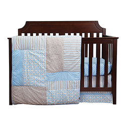Trend Lab - Trend Lab's Logan 3-Piece Baby Bedding Set - Timeless polka dots and stripes are paired with fresh lattice and geometric circles bringing a wonderfully stylized statement to the nursery in Trend Labs Logan 3-Piece Baby Bedding Set. Blue bell is combined with shades of a beautiful opal gray and crisp white offering endless decorating possibilities for you and your little one. The 3 piece set includes fitted sheet crib skirt and blanket/quilt. Coordinating accessories sold separately. Please allow 2-3 weeks for delivery. 100 cotton. Machine wash/tumble dry
