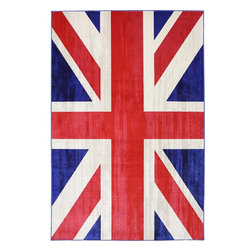Mohawk Home - Outdoor Patio Union Jack Jockey Red Outdoor Indoor British Flag 8' x 10' Rug - Keep calm and decorate with this stylish trendy rug. Great for contemporary and eclectic spaces, this rug will create a focal point within your design. Our indoor / outdoor rugs are made from polypropylene that resists staining, fading, and mold/mildew.Latex Clearcoat Backing