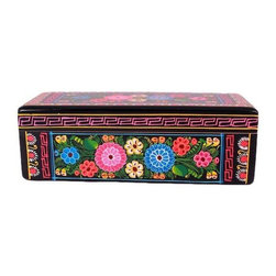 Pre-owned Hand-painted Olinala Black Wooden Box with Flowers - This folk art form incorporates elements of pre-Hispanic, European and Chinese traditions which came together in colonial Mexico and continue to develop today. First the wood or gourd surface is coated with a mixture of chĚ_a seed oil, made from the seeds of the Salvia plant, and aje, a waxy fat from an insect. Then a layer of earth is placed on top to absorb the oil. This ‰ŰĎearth varnish‰Űť or lacquer is smoothed out and polished with a stone and the heel of the hand. This process may be repeated a number of times. Pigments can be added to create the background color. Recently, artists have begun to mix the background color in with the oil and have applied it with a brush. After it is dried, which may take several days, the decoration is applied.