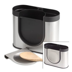 Simplehuman - simplehuman Stainless Steel Utensil Holder - This attractive utensil holder with stainless steel accents has a space saving design that allows for easy placement on the counter for high capacity storage, while taking up little room.