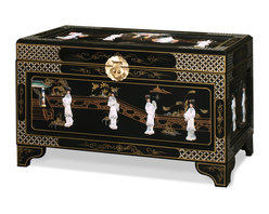 China Furniture and Arts - Black Lacquer Mother of Pearl Motif Dowry Trunk - This dowry trunk is exquisitely hand painted in black lacquer with scenery design and decorated with mother of pearl dancing figures. Design continues on the top and the sides of the trunk. Perfect to store blankets and sweaters. It's also ideal to use as a coffee table, constructed in wood and imported from China. Fully assembled.
