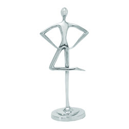 """Benzara - Traditional Aluminum Dancing Flawless Design Sculpture in Silver - Accent the appearance of all rooms with this beautiful Aluminum dancing sculpture. A perfect work of art, the sculpture depicts a man in a dance motion with hands on the waist and one leg crossed over the other. Featuring a metallic body, this distinctively styled sculpture is crafted from top quality aluminum which is resistant to scratches and corrosions, ensuring long-lasting use. Skillfully created by Indian artisans, this dancing sculpture includes fine detailing that gives it a glimmering touch. It makes a wonderful focal point for the office or the home with its stunning, lustrous make. The sculpture is designed with extravagance and lavishness which enhances its overall style, making it a spectacular home accessory. It reflects an admirable and exquisite personal style which is ideal for traditional and contemporary settings. Flaunting a rhythmical aura, this sculpture transforms the same panache to interior decor. It comes with a dimension of 16"""" H x 7"""" W x 5"""" D."""