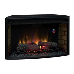Classic Flame 32 in. Curved Electric Fireplace Insert with Backlit Display - It's easy to warm up to the Classic Flame 32 in. Curved Electric Fireplace Insert with Backlit Display - and it's more than happy to warm up to you. With energy-smart all-LED technology, this fireplace has a curved front design - complete with brick accents on the sides. Up to 400 square feet can be heated with the heater blower, and no vents or gas lines are required. An electronic timer (auto-shutoff from 30 minutes to nine hours), five SpectraFlame flame brightness settings, and a digital display thermostat, all give you complete control. A full-function remote is included, and the resin logs and embers can be activated with heat or without, so you can even have the ambiance of a crackling fire in the summer.Twin Star products include a 1-year limited warranty, guaranteeing workmanship and material quality for 1 year from the date of purchase, assuming normal use. Please contact Twin Star at 866-661-1218 or our Customer Care Center for service issues and questions regarding product guarantee.