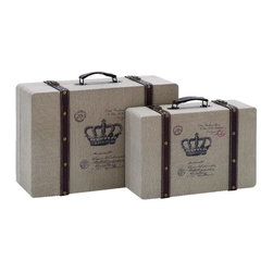 Woodland Imports - Stylish and Classic Vintage Look French Burlap Travel Luggage Home Decor - Stylish and classic inspired vintage look French burlap travel luggage living dining and family room home accent decor