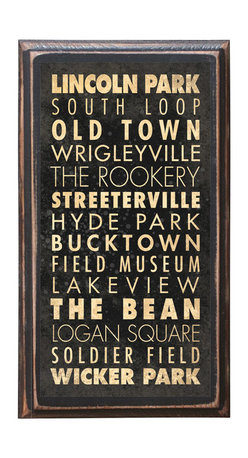 """CrestField - Chicago Points of Interest Decorative Vintage Style Wall Plaque / Sign - This vintage style wall plaque is hand made to commemorate the points of interest in Chicago. The pine board has a quarter round routed edge and is sized at 7.25"""" x 13"""" x .75"""". The surface is finished with my """"flatter than satin"""" poly finish with a saw tooth hanger on the back. Would look great in any decoration project, home or office."""