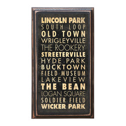 "CrestField - Chicago Points of Interest Decorative Vintage Style Wall Plaque / Sign - This vintage style wall plaque is hand made to commemorate the points of interest in Chicago. The pine board has a quarter round routed edge and is sized at 7.25"" x 13"" x .75"". The surface is finished with my ""flatter than satin"" poly finish with a saw tooth hanger on the back. Would look great in any decoration project, home or office."