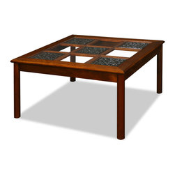 China Furniture and Arts - Rosewood Ming Style Square Coffee Table - The beauty of this coffee table is created by the intricate lines and spaces. The beveled glass top enables the table to give out a fully open illusion. Handcrafted of solid rosewood by artisans in China using traditional joinery techniques. Hand applied natural finish enhances the beauty of the wood grain. (Assembled.)