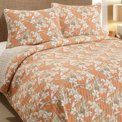 Tommy Bahama Julie Cay Quilt Set - A juicy orange and white hibiscus pattern on the Tommy Bahama Julie Cay Quilt Set will transform your bedroom into a tropical oasis. Retreat from the day under its all-natural cotton comfort. This quilt reverses to a tranquil neutral color and comes with matching quilted pillow shams. Available in your choice of size. The twin versions include one quilted pillow sham, all other sizes include two shams.Quilt Dimensions:Twin: 88L x 66W in.Full/Queen: 90L x 90W in.King: 96L x 104W in.