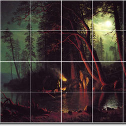 Picture-Tiles, LLC - Lake Tahoe Spearing Fish By Torchlight Tile Mural By Albert Bierstadt - * MURAL SIZE: 48x72 inch tile mural using (24) 12x12 ceramic tiles-satin finish.