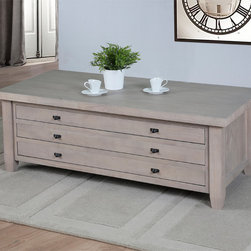 None - Navigator Dove Grey Coffee Table - This Navigator Dove coffee table features three slim drawers for extra storage space. This elegant accent table is featured in a gorgeous grey finish that is sure to bring style and sophistication to your home decor.