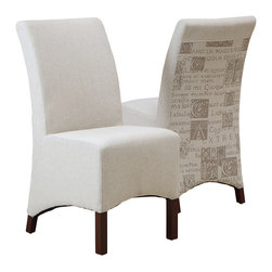 Great Deal Furniture - Avery Beige Printed Fabric Dining Chair (set of 2) - Got your back. This smart and sophisticated dining chair ensures that no trash talk follows you to the table. In fact, the back is printed in Latin, so you can be relax knowing that you are supported by only the most nobly expressed sentiments.