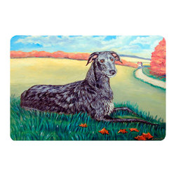 Caroline's Treasures - Scottish Deerhound  Kitchen Or Bath Mat 24X36 - Kitchen or Bath COMFORT FLOOR MAT This mat is 24 inch by 36 inch.  Comfort Mat / Carpet / Rug that is Made and Printed in the USA. A foam cushion is attached to the bottom of the mat for comfort when standing. The mat has been permenantly dyed for moderate traffic. Durable and fade resistant. The back of the mat is rubber backed to keep the mat from slipping on a smooth floor. Use pressure and water from garden hose or power washer to clean the mat.  Vacuuming only with the hard wood floor setting, as to not pull up the knap of the felt.   Avoid soap or cleaner that produces suds when cleaning.  It will be difficult to get the suds out of the mat.