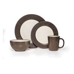Gourmet Basics by Mikasa - Mikasa Gourmet Basics Metropolitan 16-piece Dinnerware Set - Serve dinner in style with this trendy and modern dinnerware set. Complete with service for four,this dish set features an understated and textured design for a simple and sophisticated look.