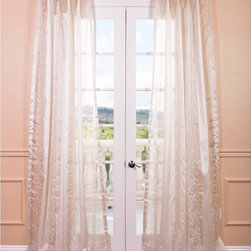 EFF - Juliette Ivory Embroidered Sheer Curtain Panel - This curtain panel is from the Embroidered Sheers Collection and unmatched in quality. The panel creates a beautiful diffusion of light with an elegant and intricate embroidery.