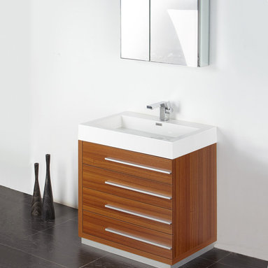 "Fresca - Fresca Livello 30"" Teak Modern Bathroom Vanity W /Faucet & Medicine Cabinet - At a width of 29"" and a height of 33.5"", the Fresca Livello bathroom vanity is perfect for smaller spaces. With a minimalistic and contemporary design, this vanity will make your bathroom feel like a modern oasis."
