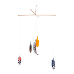 Feather Mobile - Featuring bluejay, oriole, pheasant, peacock and hawk feathers, this mobile pays homage to the spiritual significance of feathers.