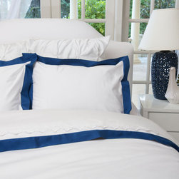 Crane & Canopy - Monaco Blue Linden Border Sham-Standard - The luxury is in the details, especially when inspired by the classic bedding found in the finest luxury hotels around the world. Woven from luxurious 400-thread count, single ply, 100% cotton with tailored monaco blue borders, this irresistibly soft and beautiful duvet lends elegance to any room.