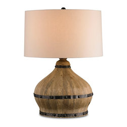 Currey and Company - Farmhouse Table Lamp - The wooden Currey and Company Farmhouse lamp sits atop side tables and buffets with rustic panache. Topped with round off-white linen shade for a clean complement, the natural fixture's wine barrel-style base takes on an industrial tone with nail head-trimmed iron banding around its curvy silhouette.