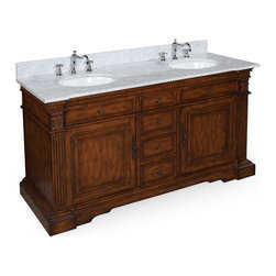 Kitchen Bath Collection - Westchester 60-in Double Sink Bath Vanity (Carrara/Brown) - This bathroom vanity set by Kitchen Bath Collection includes an antique-style cabinet with soft close drawers, Italian Carrara marble countertop, double undermount ceramic sinks, pop-up drains, and P-traps. Order now and we will include the pictured three-hole faucets and a matching backsplash as a free gift! All vanities come fully assembled by the manufacturer, with countertop & sink pre-installed.