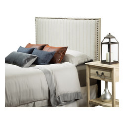 Great Deal Furniture - Glebus Queen Size Beige Striped Fabric Headboard - The Glebus headboard is a great piece to add elegance to your bedroom. You can spruce up the look of any queen metal frame bed with this headboard.