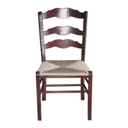British Traditions - French Slat-Back Side Chair w Rush Seat & Straight Legs - Set of 2 (Black) - Finish: Black. Set of 2. Each finish is hand painted and actual finish color may differ from those show for this product. French back slats. Rush seat. Straight legs. Minimal assembly required. Seat Height: 18 in. H. 20 in. W x 17 in. D x 39 in. H (17 lbs.)The Dijon Chair has a simple French curve on the back slats, but straight, sturdy legs.