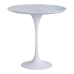 NUEVO - Jacob Side Table, White Marble - With such a stylish and mod design, even a water cup will look fabulous on this end table!