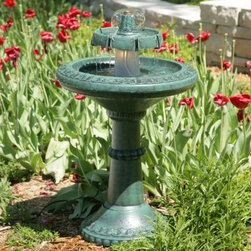 Tiered Bird Bath Water Fountain with Light - Enjoy the dramatic effect of light on a water fountain in your own backyard or garden with the Tiered Bird Bath Water Fountain with Light. This self-contained unit will certainly become a focal point wherever you use it. The upper tier features a spout that shapes the water into an umbrella. Its upper tier channels the water into streams as it cascades to the basin below. The basin features a large textured floral pattern around the edge. A heavy stable base features the same decorative pattern and steadies the center column to support the basin. Made from a highly durable polyresin this water fountain is impervious to rust and rot and will retain its color. This water fountain arrives with everything you need - simply fill with water and start enjoying. A self-contained water basin and pump re-circulate water so no special plumbing hookup is needed. A 10-watt halogen light is included and the fixture is easily accessed. The fountain has a 22-inch diameter and stands 35 inches tall.