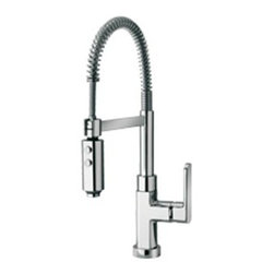 Kitchen Sinks - Faucets - FAUCET GROUP Brushed Nickel Single-Handle Pre-Rinse kitchen Faucet with Spring and Swivel Spout.