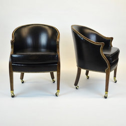 Pair of Black Leather Occasional Chairs w/ Nail Heads & Casters - Dimensions:L 23''  × W 25''  × H 33''